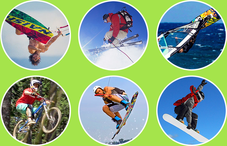 Kite Boarding, Skiing, Wind Surfing, Mountain Biking, Wake Boarding, Snow Boarding